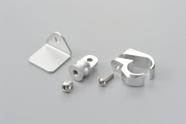 Aluminum handle clamp bracket 22.2mm silver anodized