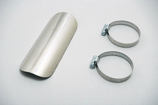 Universal heat shield stainless steel polished straight closed type